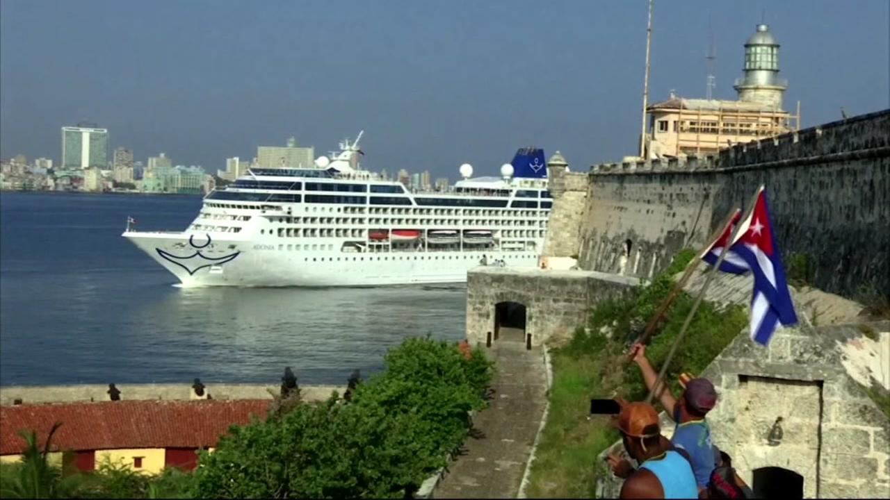 The first U.S. cruise ship arrives in Havana, Cuba on Monday, May 2, 2016 for the first time in nearly 40 year.s