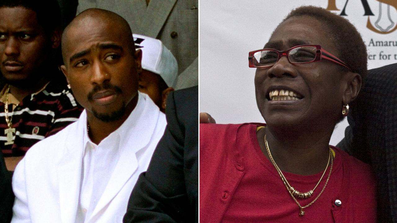 1996 file photo rapper Tupac Shakur (left) and (right) Afeni Shakur Davis in file photo from 1996.