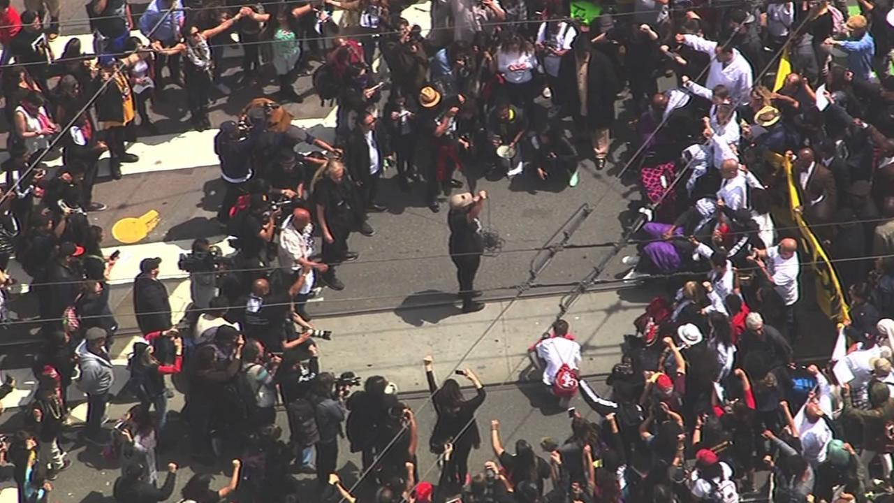 Protesters calling for the firing if San Francisco Police Chief Greg Suhr over recent police-involved shootings are marching through San Francisco streets May 3, 2016. KGO-TV