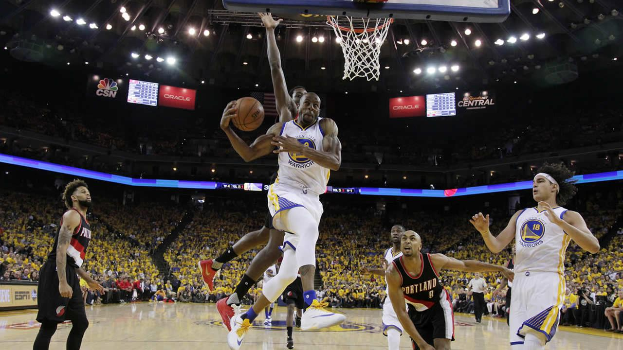 Warriors Andre Iguodala drives to the basket against the Trail Blazers during Game of a second round of NBA basketball playoff series on May 1, 2016. in Oakland, Calif. (AP Photo)