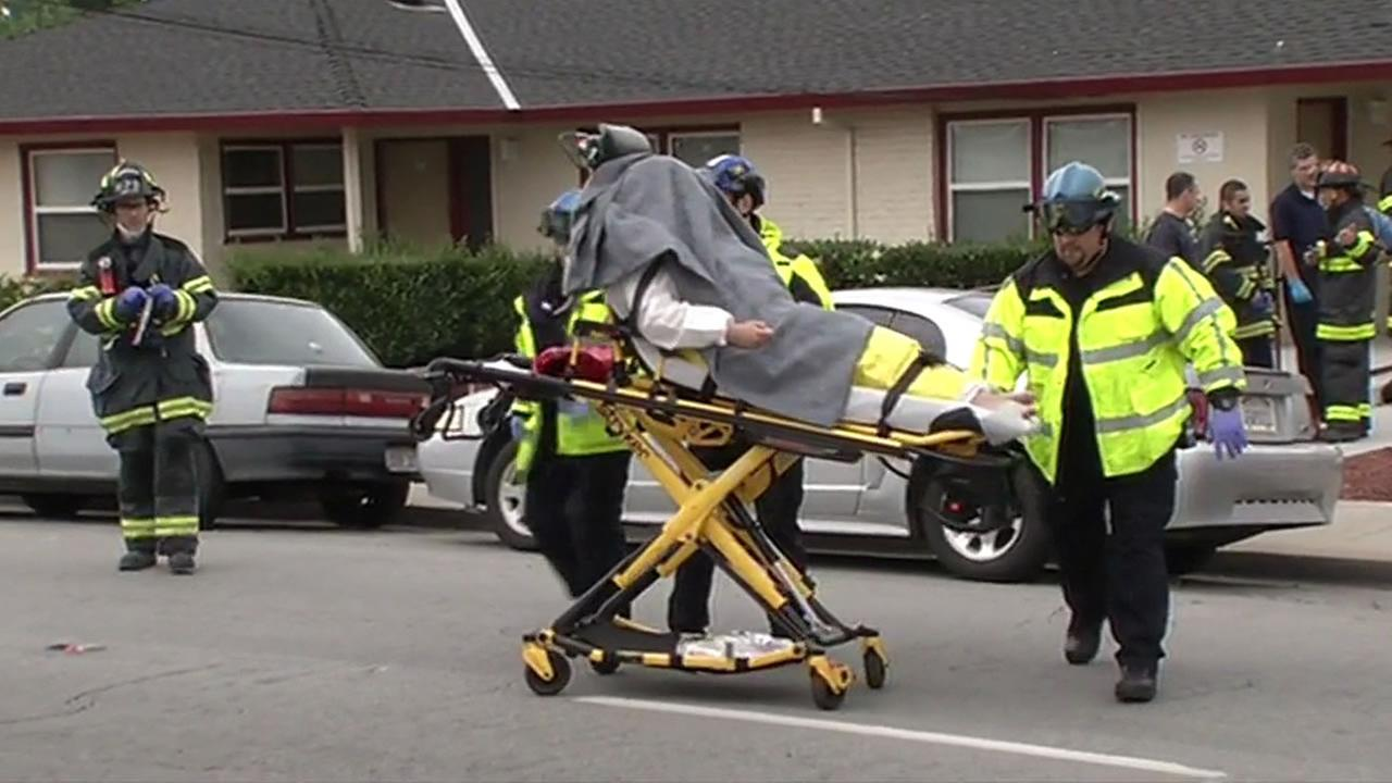 This image shows a patient being transported from the Indian Health Center in San Jose, Calif. after being exposed to a chemical on  May 4, 2016.