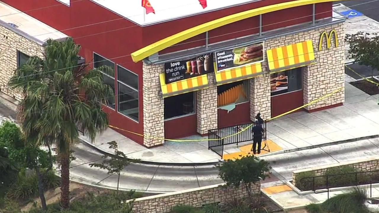 This image shows a McDonalds in Antioch, Calif. after a driver open fire on the drive-through, shooting out at least three windows, on May 4, 2016.