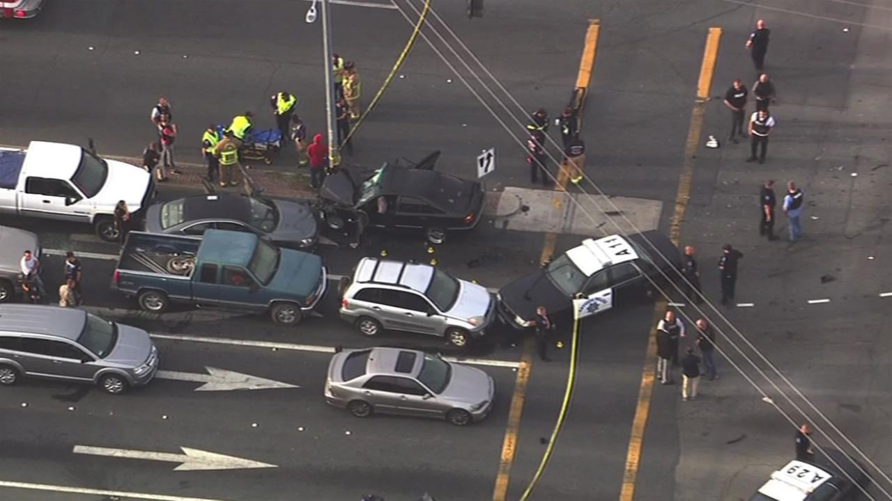 This image shows the scene of an officer-involved shooting a multi-car crash in Pittsburg, Calif. May 4, 2016.