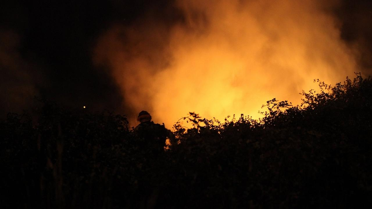 Brush fire burns near homeless encampment in San Rafael early Sunday morning