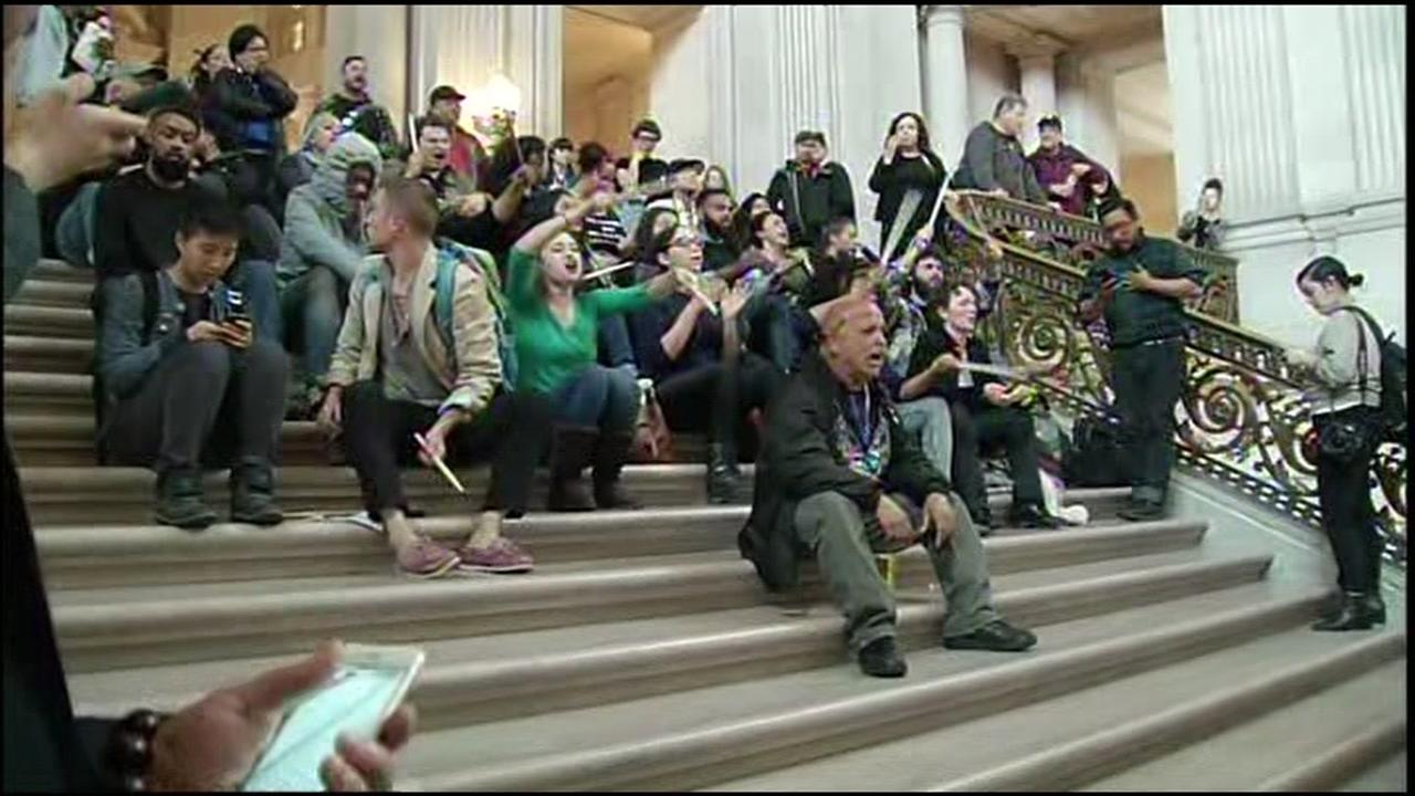 Supporters of five hunger strikers protest at San Francisco City Hall on Friday, May 6, 2016.KGO-TV