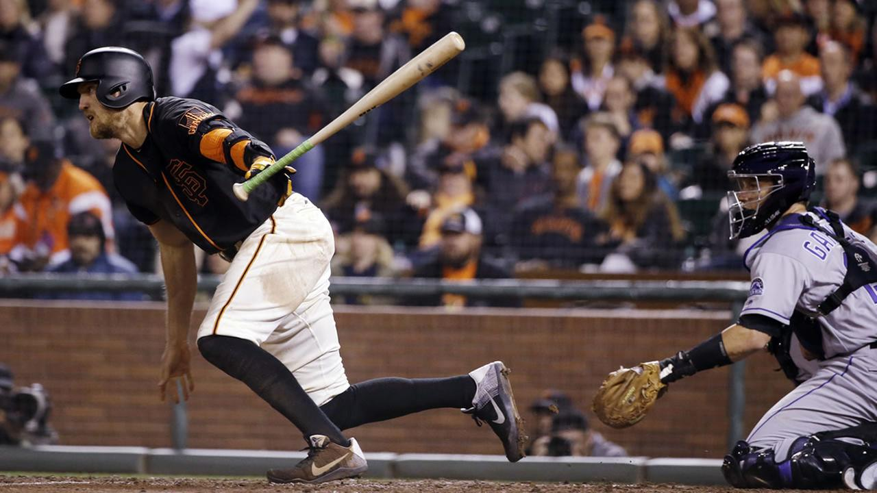 San Francisco Giants Hunter Pence drives in a run with a single during the fifth inning of a game against the Colorado Rockies on May 6, 2016, in San Francisco. (AP Photo/Marcio Jose Sanchez)