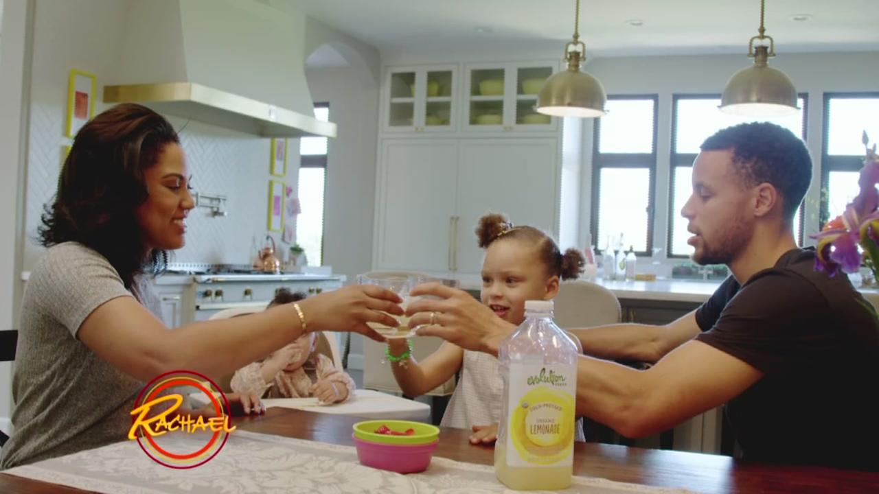 Ayesha Curry, Steph Curry, and their daughter Riley showed off their dream kitchen in Walnut Creek, Calif. during an episode of Rachael on ABC7 on Tuesday, May 10, 2016.