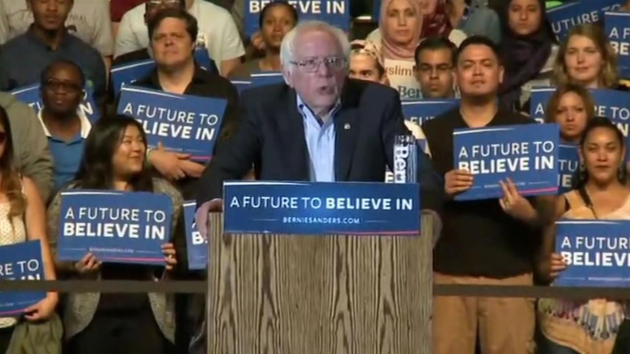 Bernie Sanders speaks at a rally in Sacramento, Calif. on Monday, May 9, 2016.