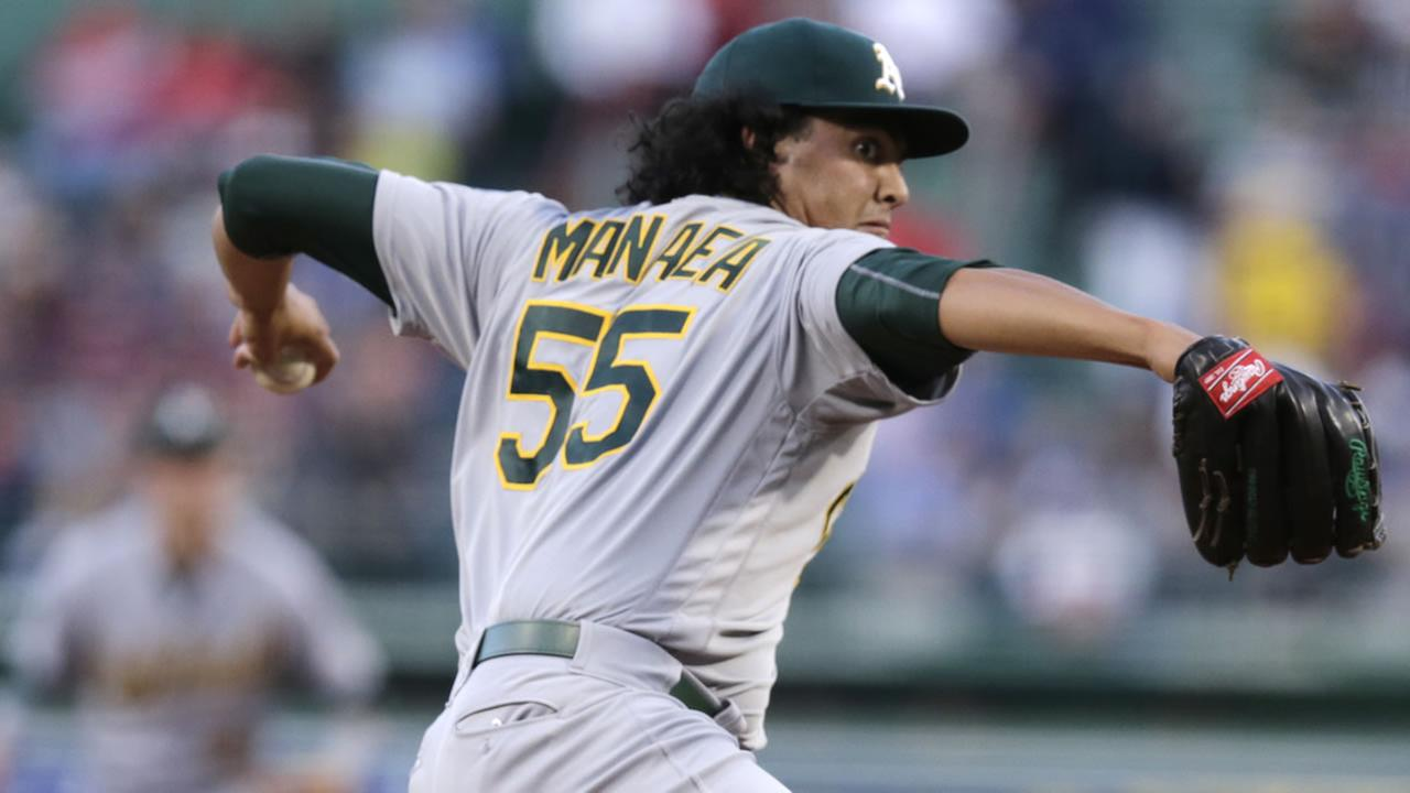 Oakland Athletics starting pitcher Sean Manaea delivers during the first inning of a baseball game at Fenway Park in Boston, Tuesday, May 10, 2016.