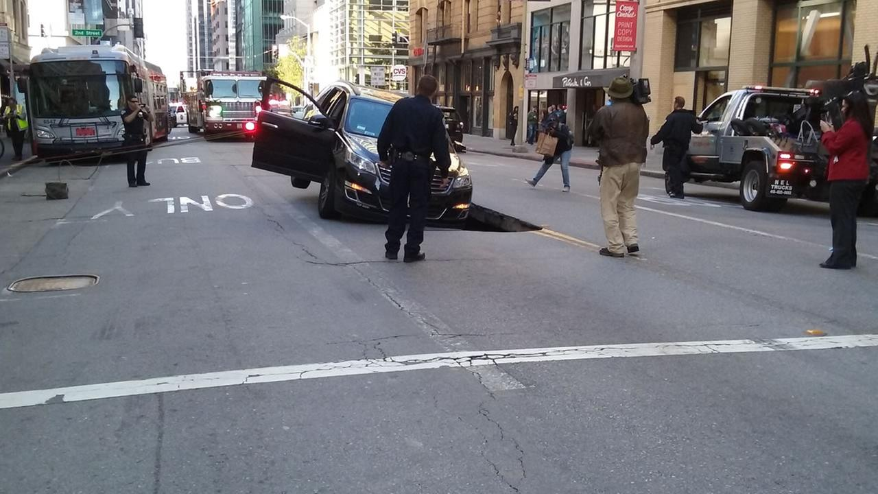 This image shows a sinkhole in downtown San Francisco on May 10, 2016.KGO-TV