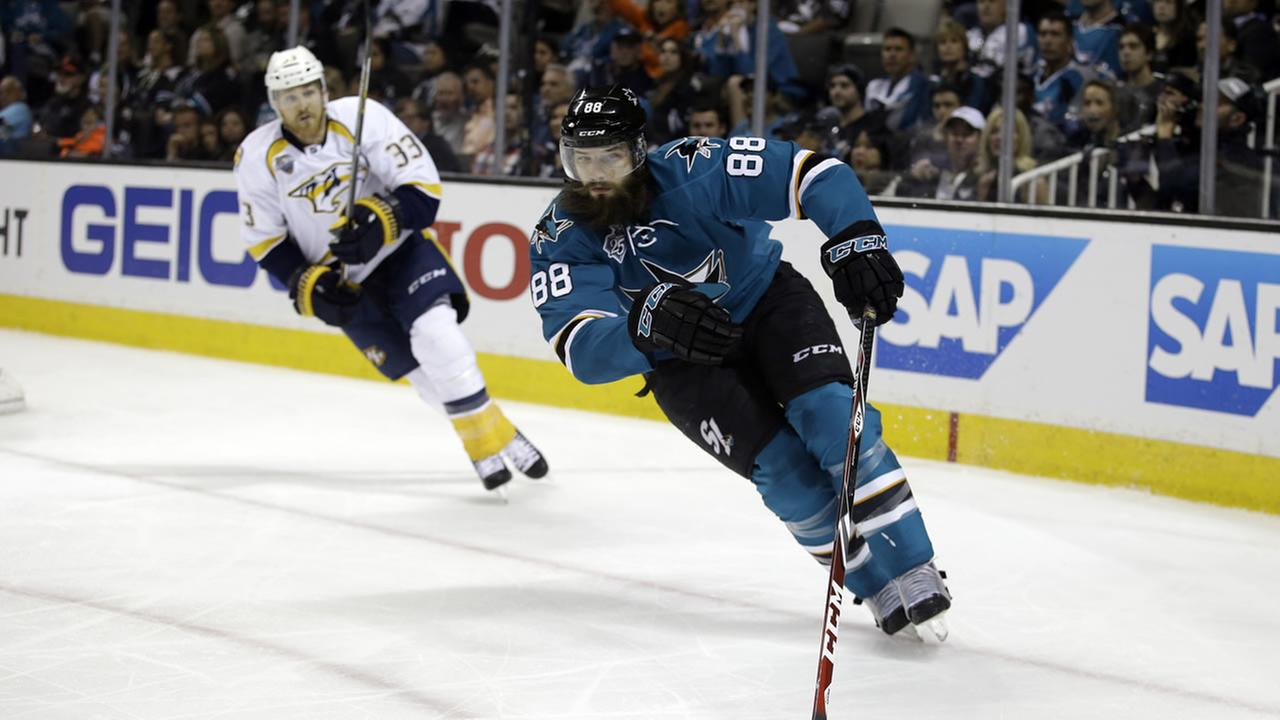San Jose Sharks Brent Burns (88) skates in front of Nashville Predators Colin Wilson (33) during Game 7 in an NHL hockey Stanley Cup Thursday, May 12, 2016 in San Jose, Calif.