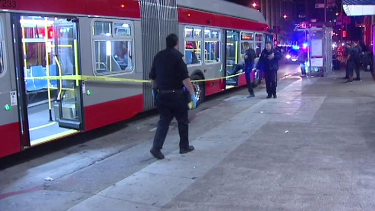 San Francisco police investigate stabbing on Muni bus, Tuesday, May 17, 2016.