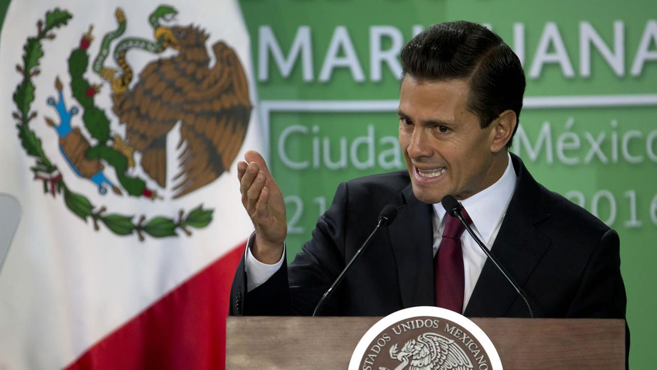Mexican President Enrique Pena Nieto speaks during an announcement on marijuana policy, in Mexico City, Thursday April 21, 2016.