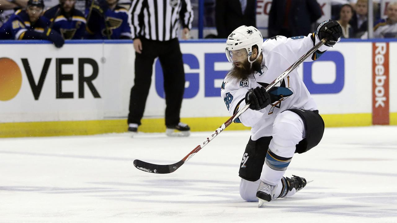 Sharks Brent Burns is seen during the second period in Game 2 of the NHL hockey Stanley Cup Western Conference finals, Tuesday, May 17, 2016, in St. Louis. (AP Photo)