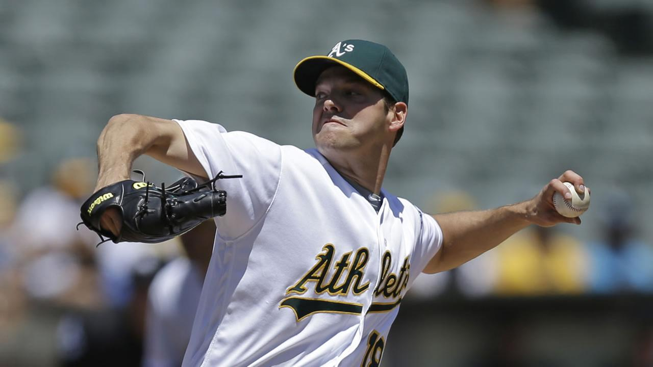 Oakland Athletics pitcher Rich Hill works against the Texas Rangers in the first inning of a baseball game Wednesday, May 18, 2016, in Oakland, Calif.