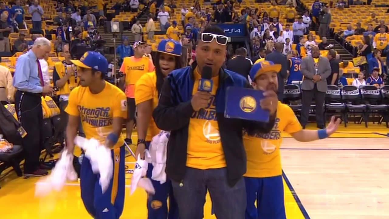 A man named Franco Finn who is also known to as Hype Man is seen at a Warriors game in this undated image.