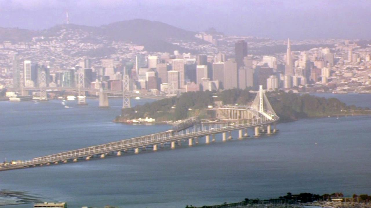 Bay Bridge and San Francisco skyline, Friday, May 20 2016.
