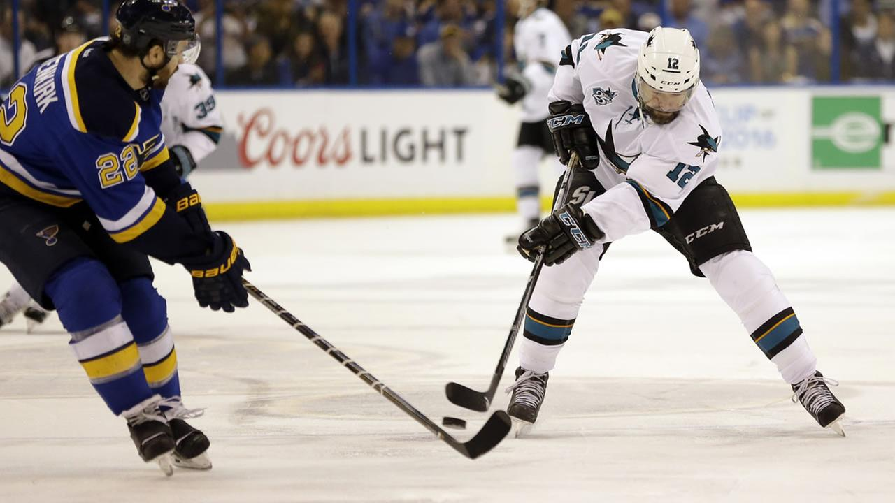 Sharks Patrick Marleau skates against Blues Kevin Shattenkirk during Game 5 of the NHL hockey Stanley Cup Western Conference finals on May 23, 2016, in St. Louis. (AP Photo)