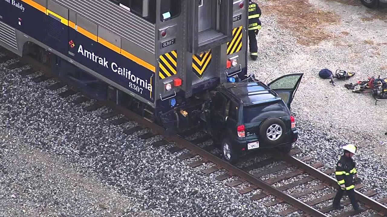 An Amtrak train struck a vehicle killing two people in San Leandro on Tuesday, May 24, 2016.