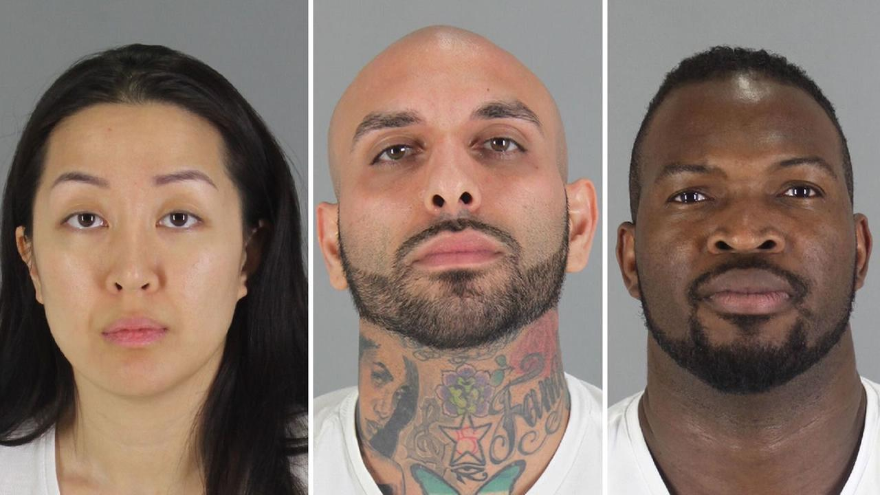From left to right: 30-year-old Tiffany Li, 29-year-old Kaveh Bayat, and 40-year-old Olivier Adella have been arrested in connection with the death of a Millbrae man.