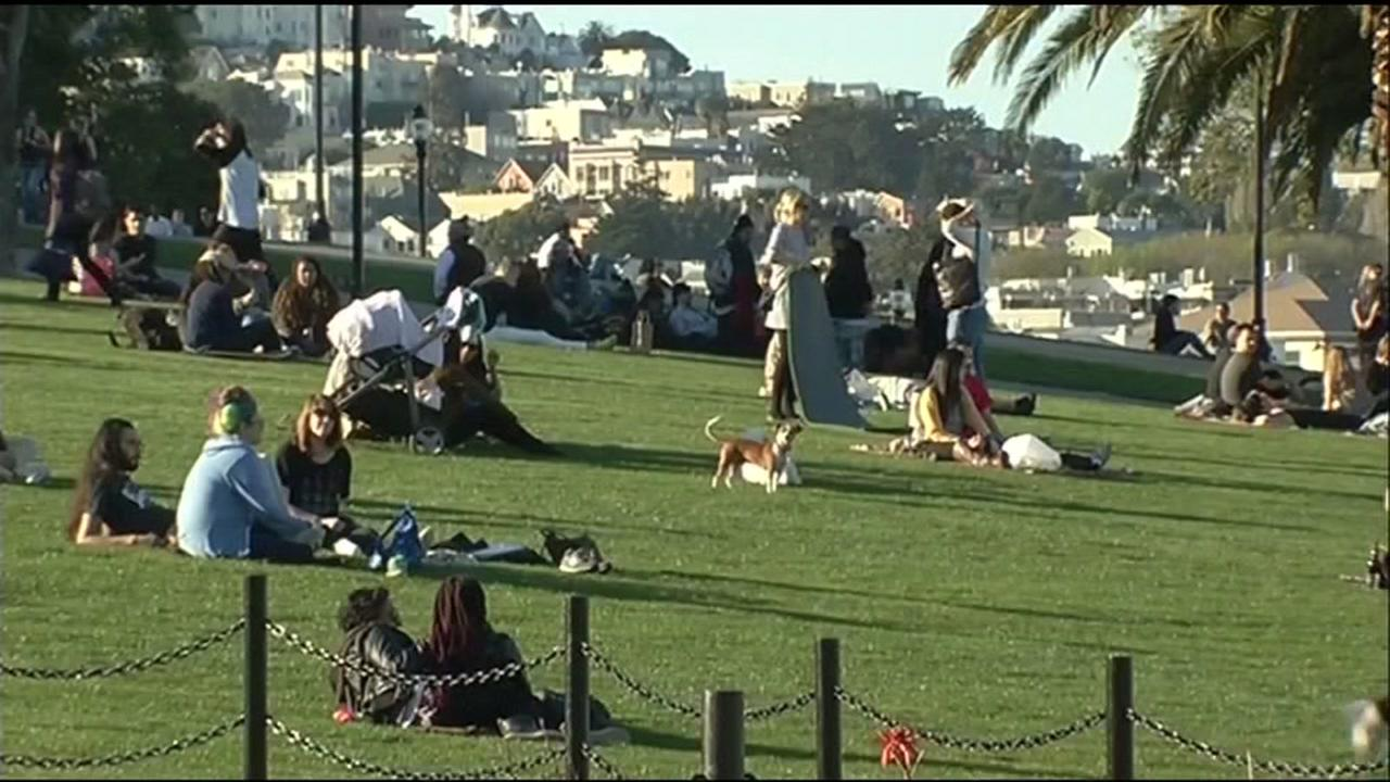 This undated image shows Dolores Park in San Franciscos Mission neighborhood.