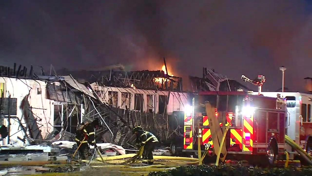 A 5-alarm fire has destroyed several businesses at a Santa Clara strip mall off El Camino Real on Wednesday, May 25, 2016.KGO-TV
