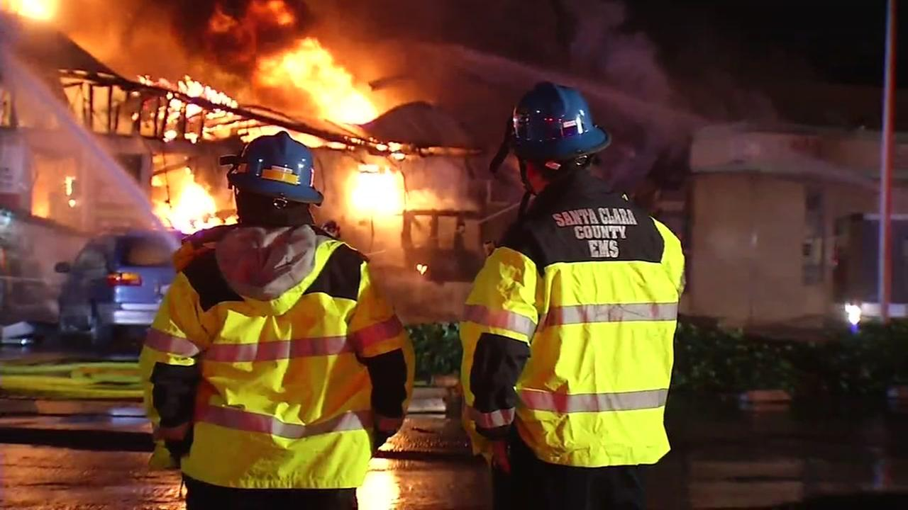 A 5-alarm fire has destroyed several businesses at a Santa Clara strip mall off El Camino Real on Wednesday, May 25, 2016.