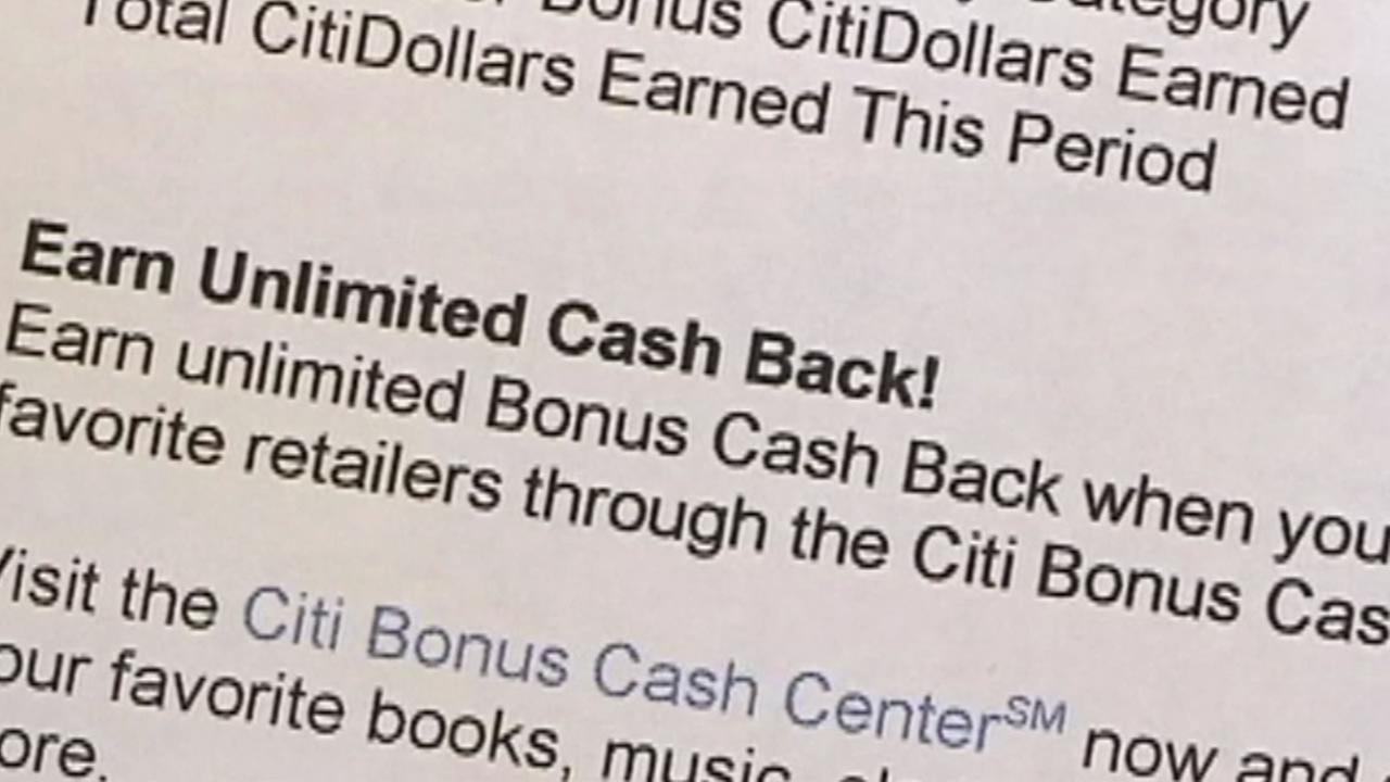 Citibank cash back document.