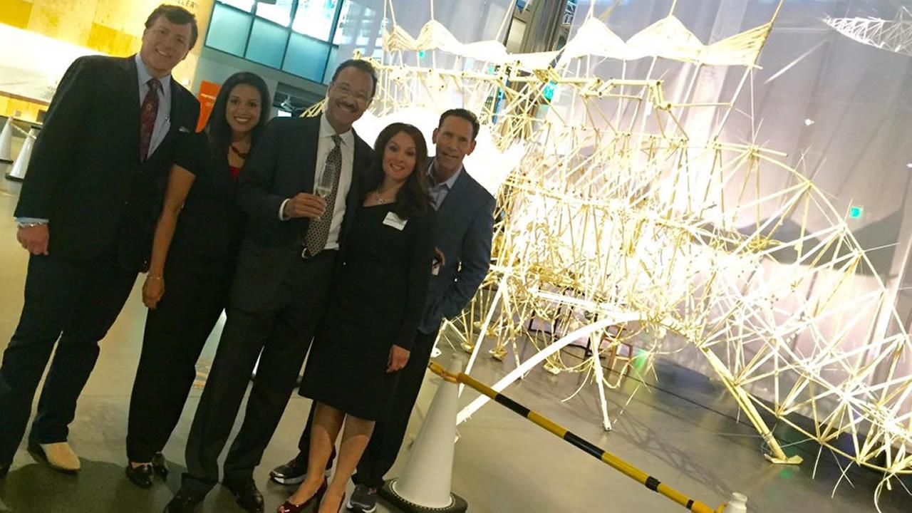 ABC7s Dan Ashley, Ama Daetz, Spencer Christian, Sandhya Patel, and Larry Beil are seen at the Exploratoriums Strandbeest exhibit in San Francisco on Wednesday, May 25, 2016.