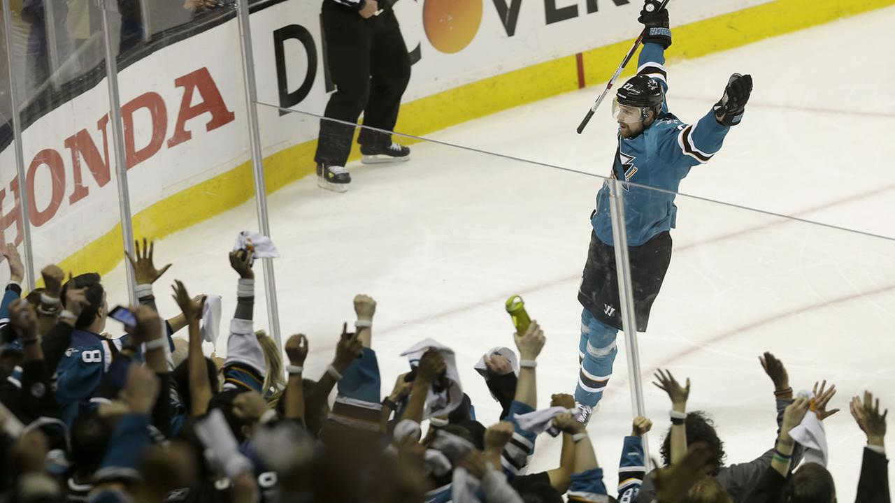 San Jose Sharks right wing Joonas Donskoi, from Finland, celebrates after scoring against the St. Louis Blues in Game 6 of the NHL hockey Stanley Cup Western Conference finals.AP Photo/Jeff Chiu