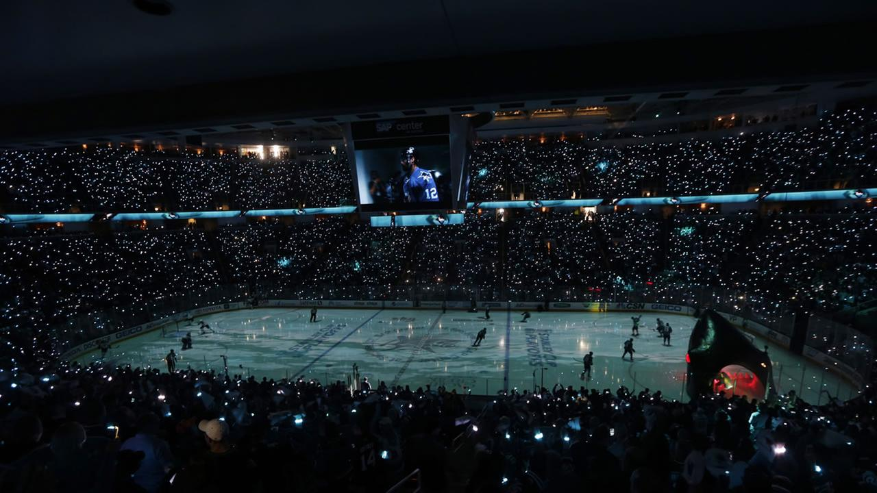 The San Jose Sharks skate onto the ice before Game 6 of the NHL hockey Stanley Cup Western Conference finals against the St. Louis Blues Wednesday, May 25, 2016.AP Photo/Jeff Chiu