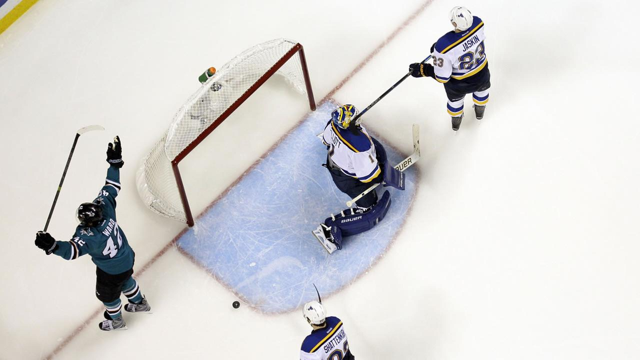 San Jose Sharks Joel Ward (42) celebrates after scoring past St. Louis Blues goalie Brian Elliott (1) during the Game 6 of the NHL hockey Stanley Cup Western Conference finals.AP Photo/Marcio Jose Sanchez