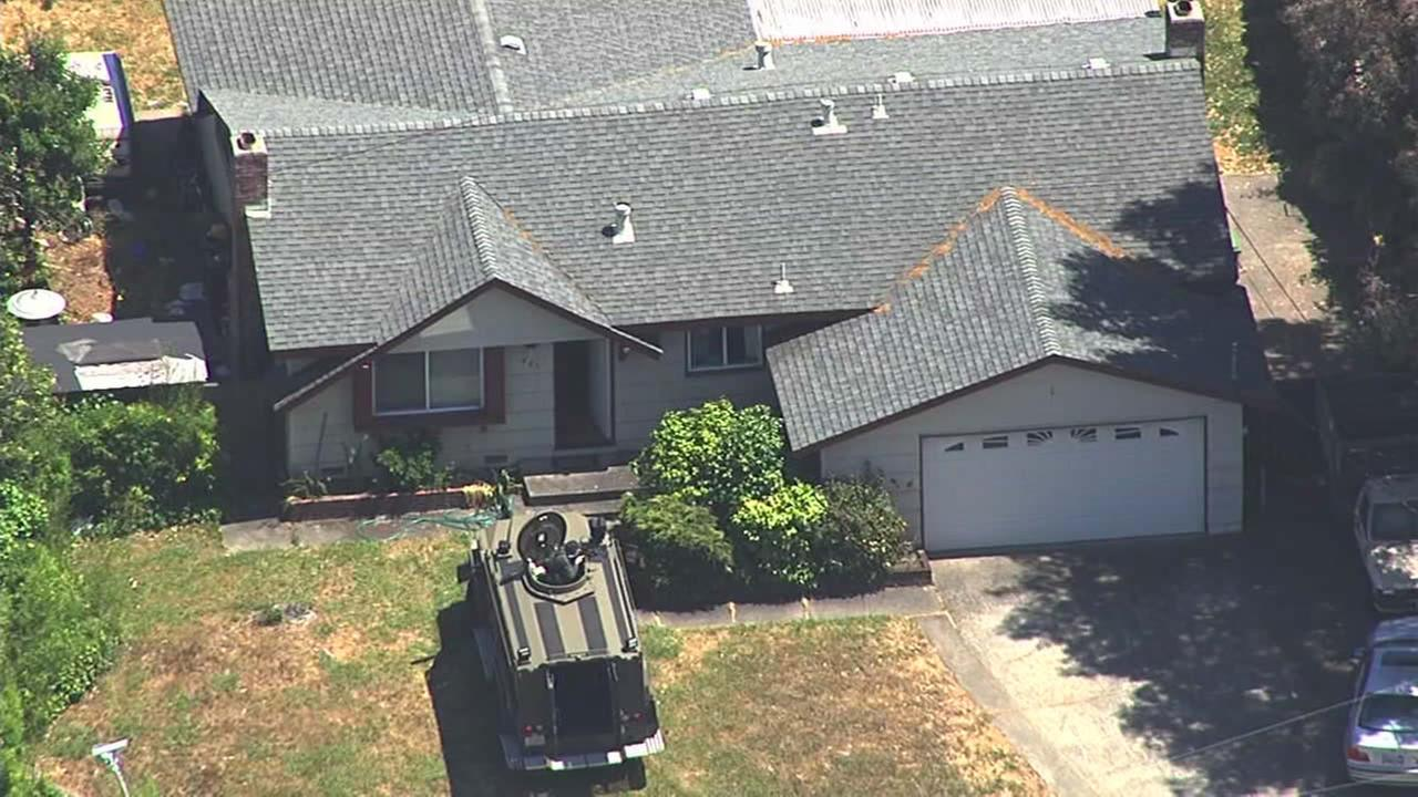 A SWAT team is seen at a home in Novato on Thursday, May 26, 2016.