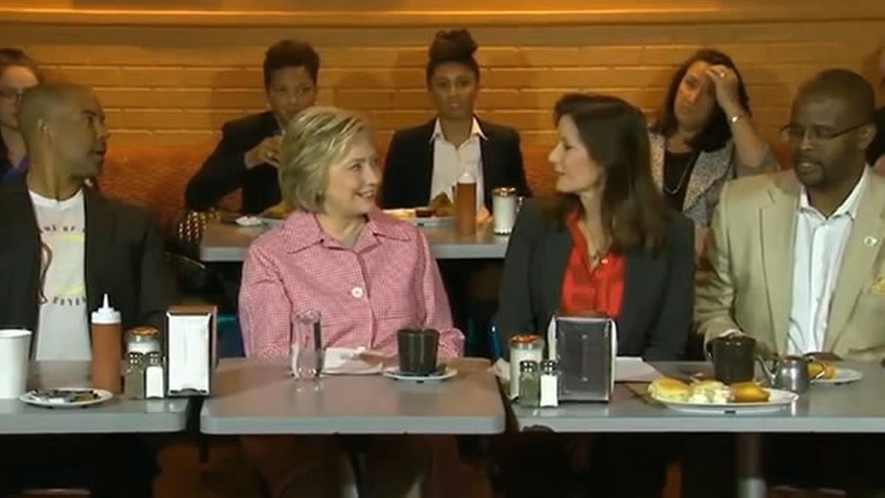 Hillary Clinton is eating breakfast with community leaders at Home of Chicken and Waffles in Oakland, Calif. on Friday, May 27, 2016.