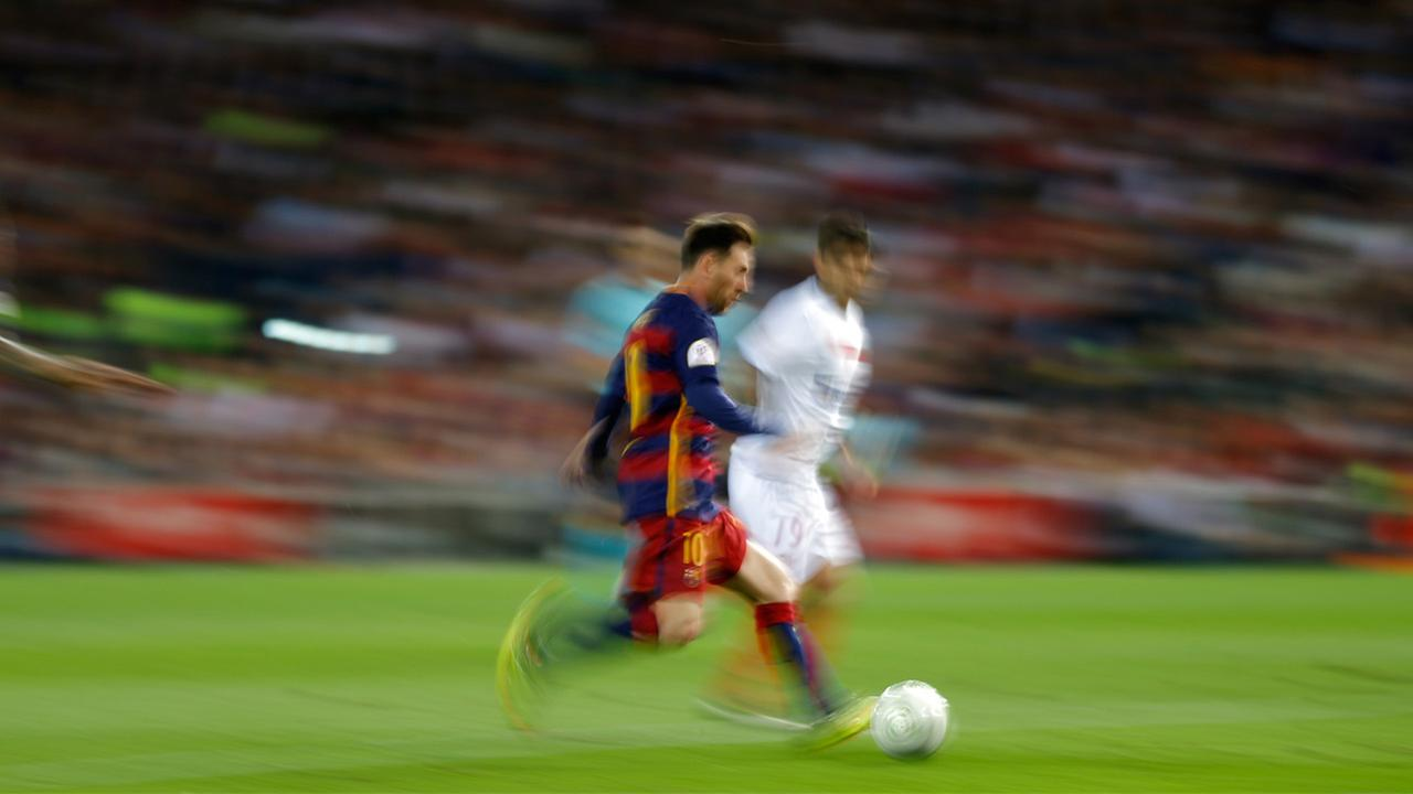 Lionel Messi during the final of the Copa del Rey soccer match at the Vicente Calderon stadium in Madrid.  Messi is on the Copa America Centenario roster playing for Argentina.