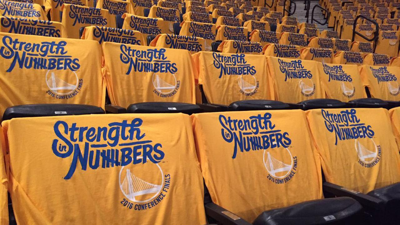Golden State Warriors shirts place at Oracle Arena, Monday, May 30 , 2016.