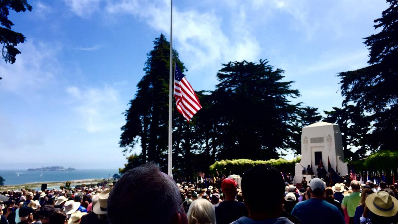 Flag at half-staff at the San Francisco National Cemetery in the Presidio, Monday, May 30, 2016.