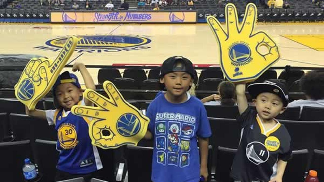These three Warriors fans are ready to watch Game 7! Share your fan pic using #DubsOn7.Photo submittede to KGO-TV by Kristine_t0mik0/Instagram