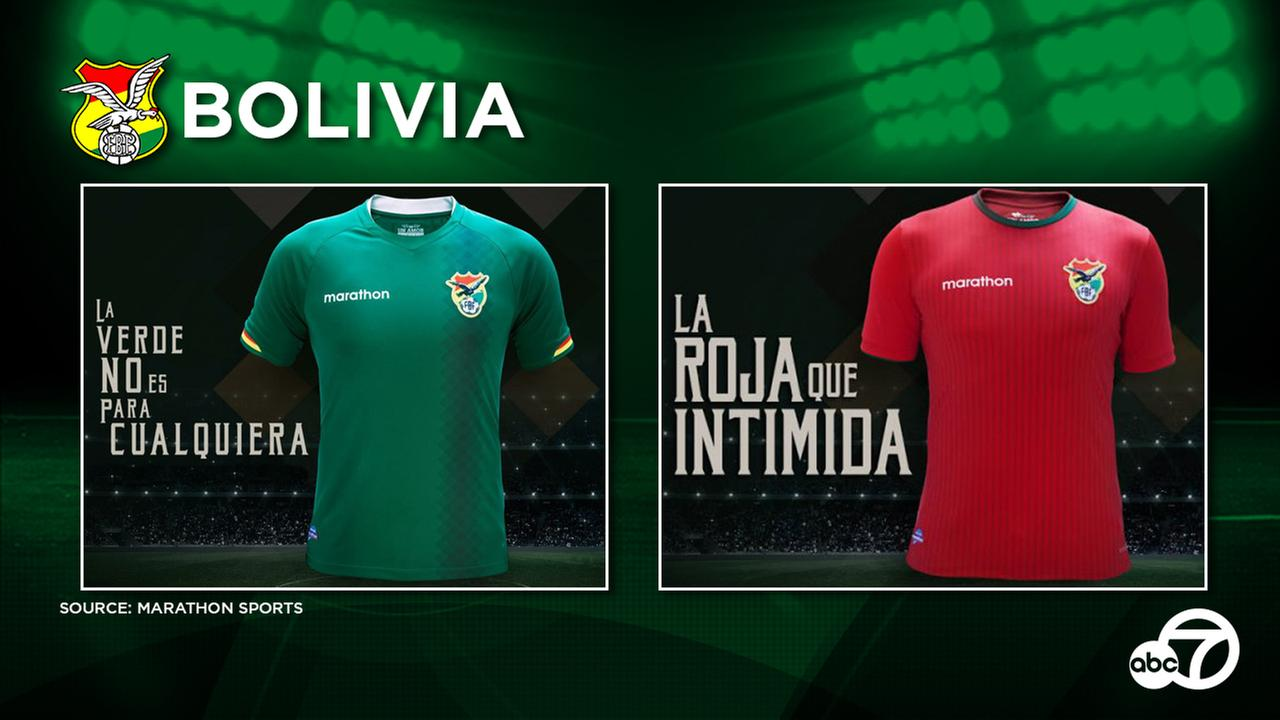 Bolivia 2016 home and away kits which are green and red, respectively.