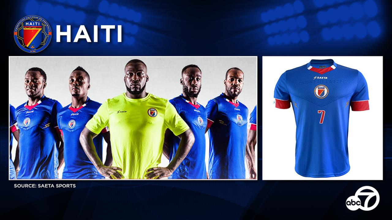 Predominantly blue, the new Haiti kit features a circular design originating from the centrally positioned federation crest.