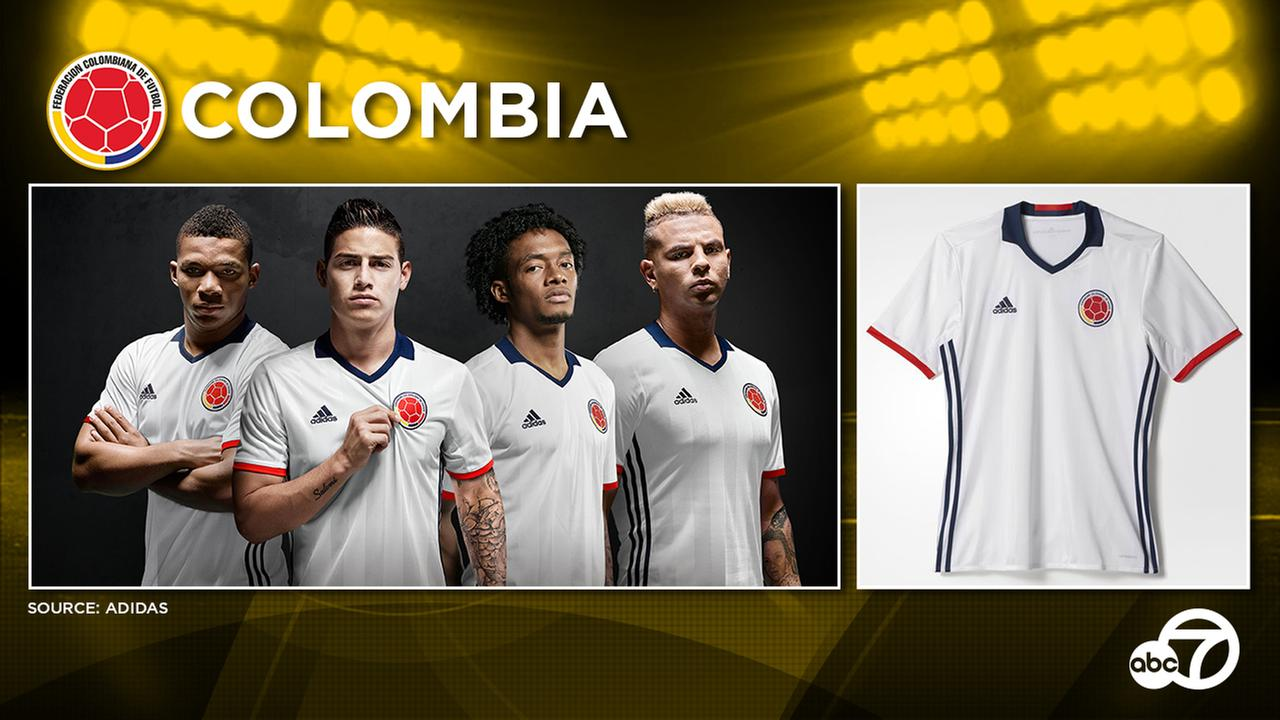 The new Colombia 2016 home kit is white, while the navy Colombia 2016 away shirt is set to be carried over.
