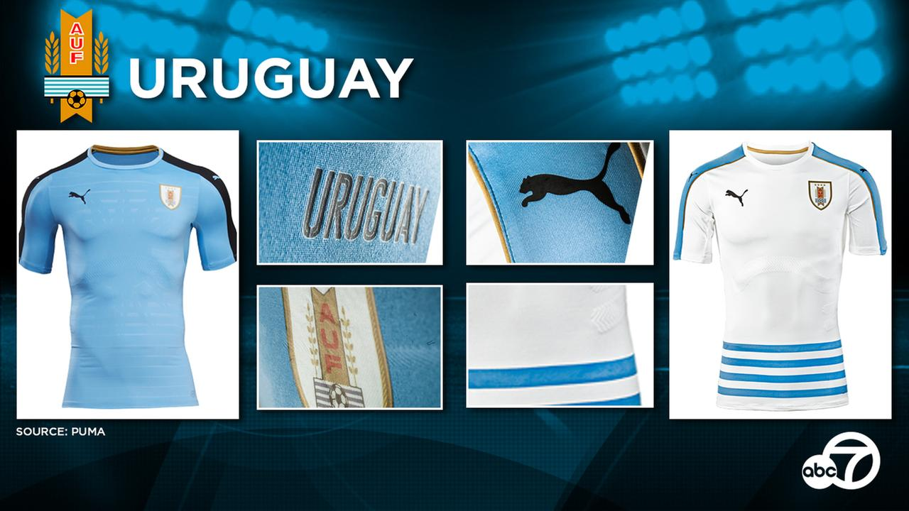 Uruguay launched new home and away kits in early 2016, set to be used at the tournament.