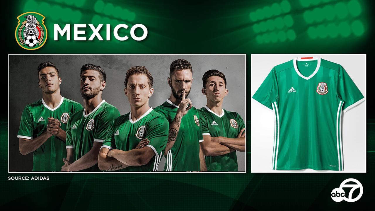 Mexico returns its traditional green home shirt color for 2016, while the white Mexico away football kit is carried over from last year.