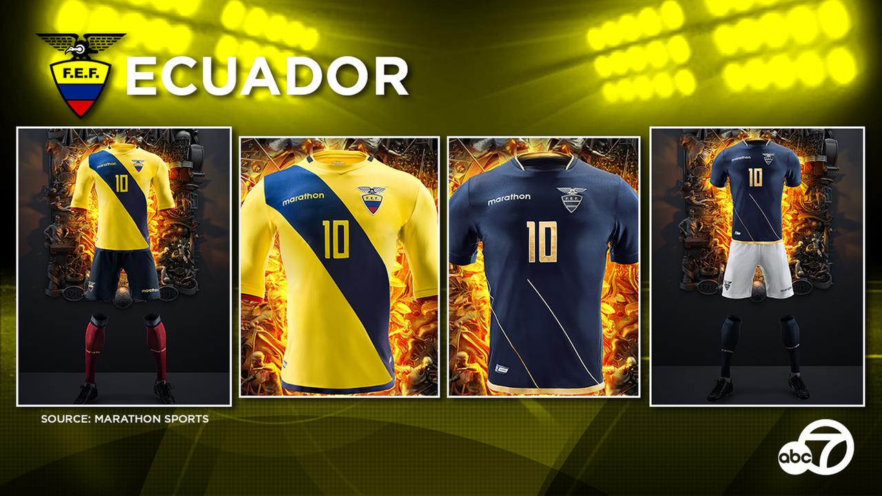 The new Ecuador home and away kits which were already used in the 2018 World Cup qualifiers.