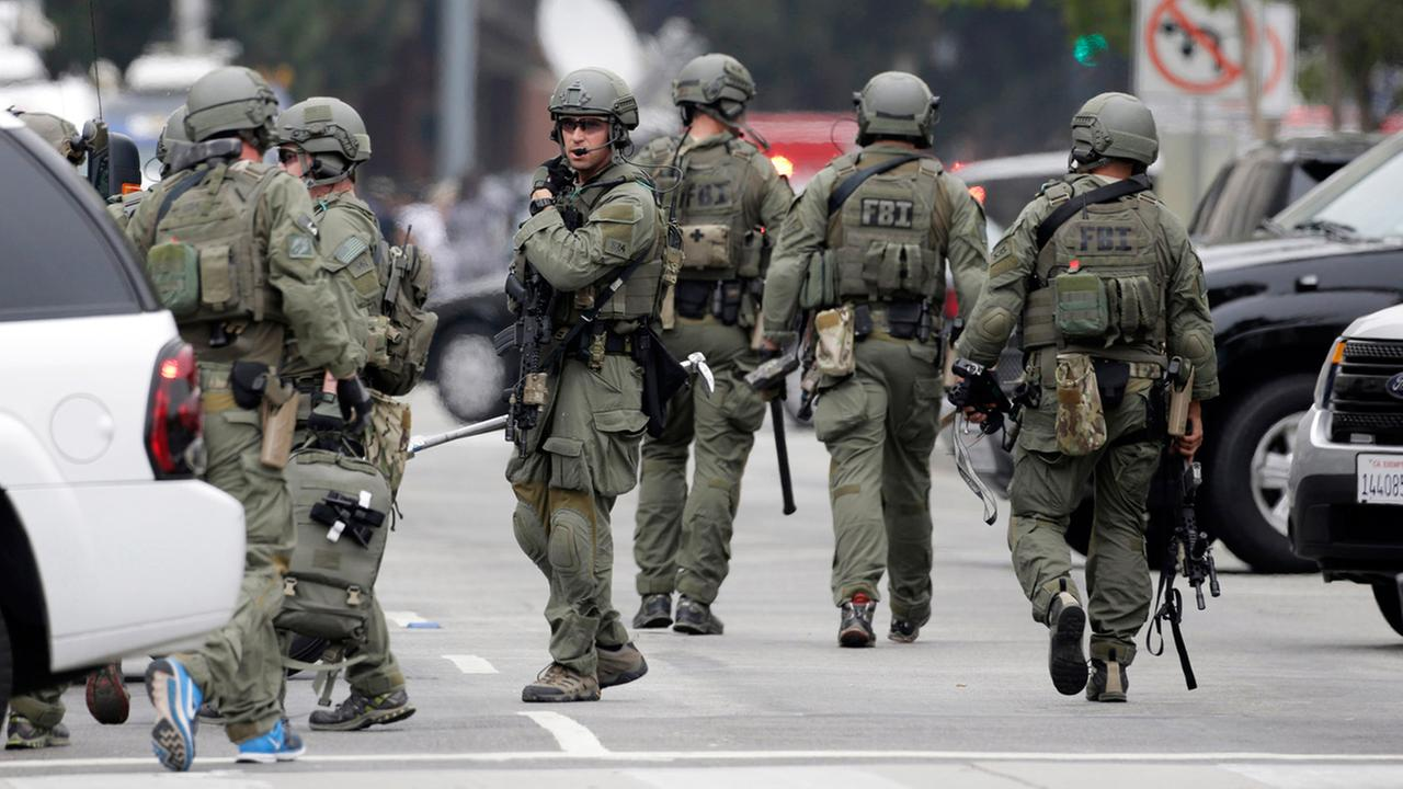 An FBI SWAT team arrives at the scene of a fatal shooting at the University of California, Los Angeles, Wednesday, June 1, 2016, in Los Angeles. AP