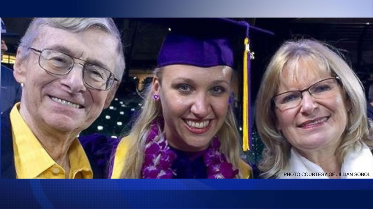 Jillian Sobol photographed alongside her adoptive parents, Helene and Sam, on May 27, 2016 in San Francisco, the day of her college graduation.