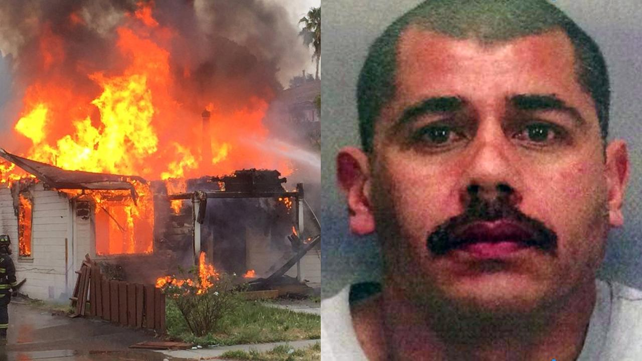 Fremont police shooting suspect Gerald Villabrille Jr. and house fire where firefighters said he was found dead, Thursday, June 2, 2016.