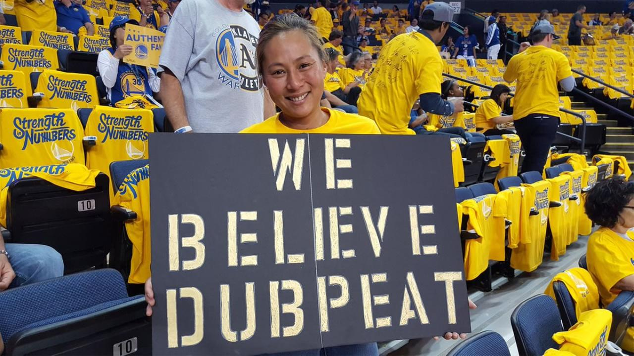 This image shows a Golden State Warriors fan showing team spirit at Game 1 of the NBA Finals on June 2, 2016.KGO-TV
