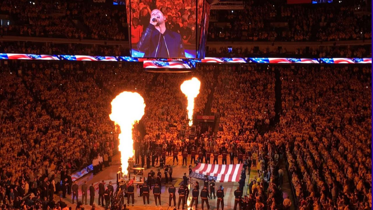 This image shows singer John Legend singing the national anthem at the starts of Game 1 of the NBA Finals June 2, 2016.KGO-TV