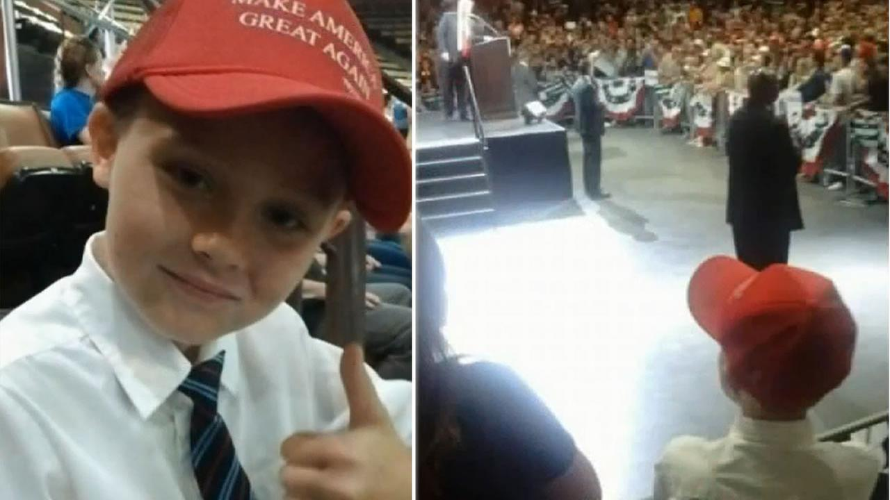 This undated image shows 9-year-old Logan Autry at a Donald Trump rally in Fresno, Calif.